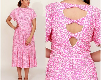 Vintage 1980s Bright Pink and White Floral Patterned Dress with Cut-Out Bow Back by Lanz Originals | Large/XL