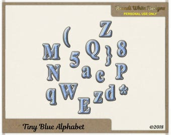 Tiny Blue Alphabet for Digital Scrapbooking, Instant Download
