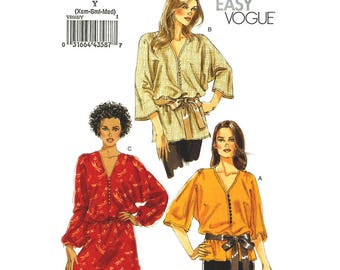 Kimono Top & Tunic Pattern Vogue 8668 Long Boho Top or Loose Tunic 3/4 or Long Sleeve Womens Sewing Pattern Size 4 to 14 UNCUT