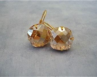 Swarovski Crystal Champagne Cushion Cut Earrings, champagne crystal wedding earring, cushion cut earrings, golden shadow, bridesmaid gift