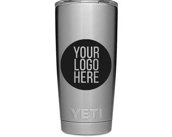 YETI Rambler Custom Personalized - YOUR LOGO - Corporate Silver 20 oz 30 oz