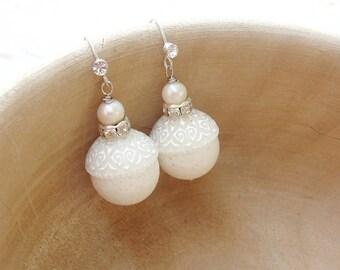 White Coral Earrings White coral, Pearls, Rhinestones - Bridal Earrings