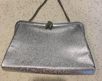 Vintage metallic silver clutch