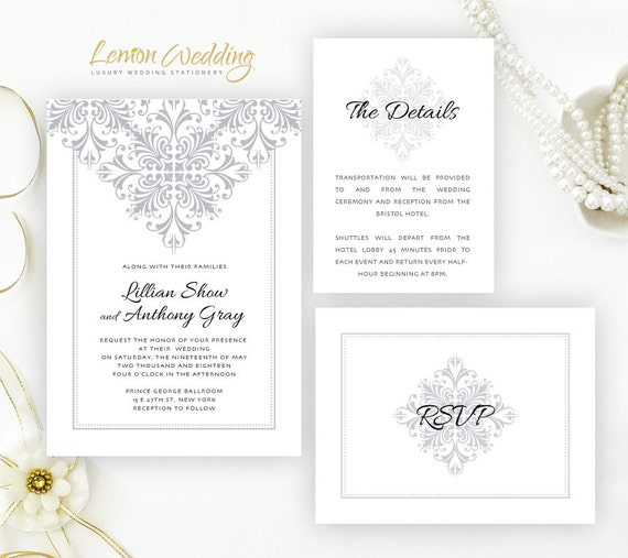Silver Wedding Invitations Printed On Shimmer Cardstock