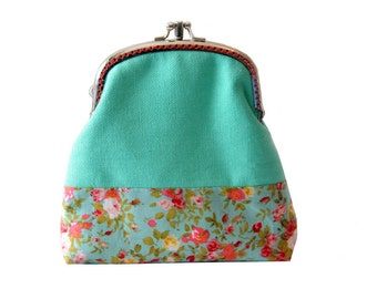 Double Pockets Coin Purse, Card Slot Wallet, Mint Clutch Purse, Double Wallet Clutch, Kiss Lock Purse, Metal Frame, Gifts For Her