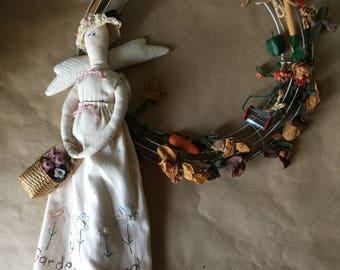 Gardening Angel Wreath Doll Gift for Gardener Hand Made