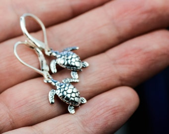All Sterling Silver Sea Turtle Earrings Set, Dainty Nature Inspired Turtle Sterling  Jewelry