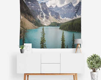 Peaks from Below Tapestry | Nature Tapestry | Mountains Wall Decor | Evergreen | Boho Tapestries | Landscape | Photography | Forest Wall Art