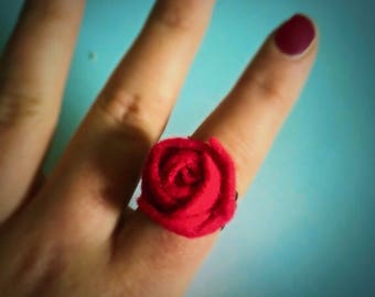 Felt flower filigree ring statement rose ring one size fits all