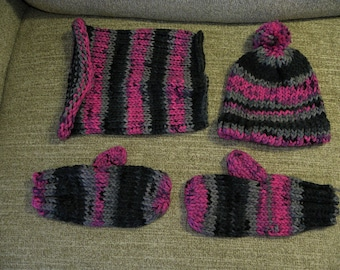 Pink and Black Knit Hat, Cowl, and Mittens Three Piece Matching Set