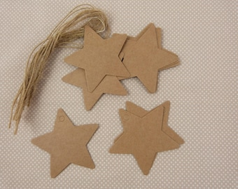 Set of ten labels kraft cardstock, stars