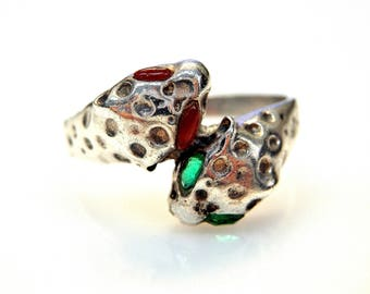 Sterling Silver Garnet and Emerald Leopard Wrap Ring