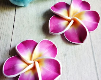SET of 2 large 45 mm Fuchsia flowers in polymer clay beads