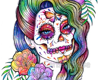 ORIGINAL 11x14 in Watercolor Painting - Daydreamer - Rainbow Day of the Dead Pop Art Tattoo Flash Tie Dye Colorful Illustration