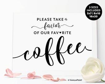 Wedding Coffee Favor Sign, Coffee Wedding Favors, Bridal Shower Wedding Coffee Favors Coffee Bean Favor Bags, Coffee Bean Wedding Favor Sign