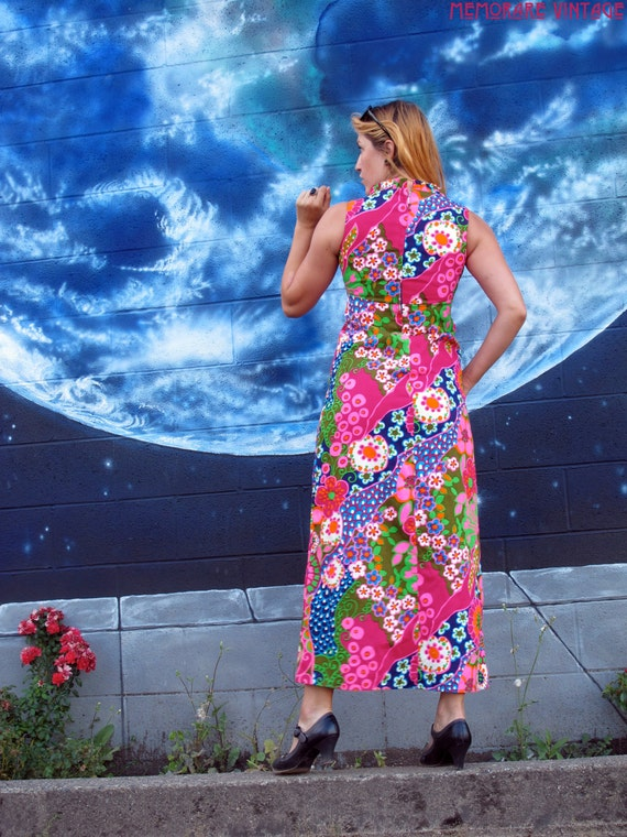 floral 1960s hawaiian fitted size maxi psychedelic S pinup XS tank bright vintage aloha spiral DRESS EqqrTxnwZ