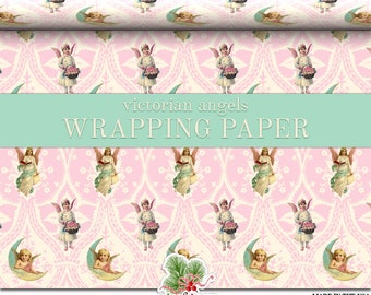 Victorian Pink Christmas Wrapping Paper Roll |  Pink Vintage Angels Christmas Custom Gift Wrap In Two Sizes Great For A Pink Christmas Theme
