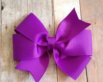 4 inch purple pinwheel bow