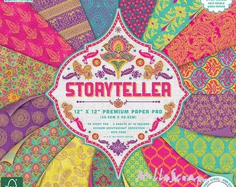 "Printed paper 30.5 X 30.5 cm, ""Storyteller"" collection, background papers, 16 leaves"