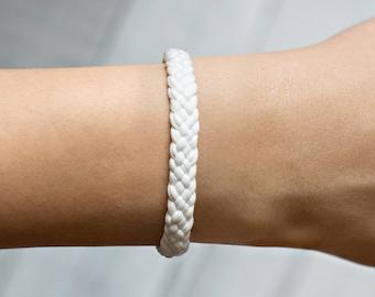 Braided Bracelet, White Bracelet, Friendship Bracelet, Woven Bracelet, Men's Bracelet, Surfer Bracelet, White Braided, Handwoven Bracelet