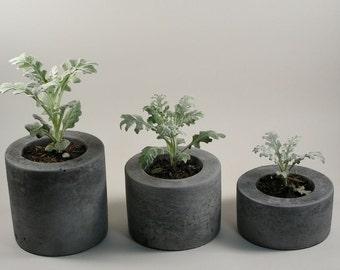SALE: Round Concrete Pot - set of 3