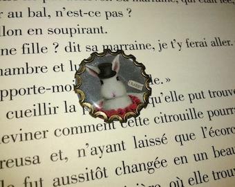 Support cabochon - bronze - the White Rabbit