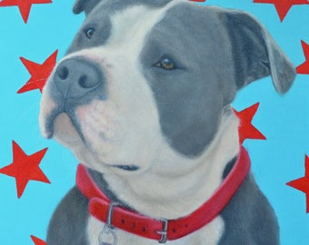 Pit Bull Painting - American Bulldog - American Staffordshire - Original Dog Art - It's a Pittie - All Proceeds Benefit Animal Charity
