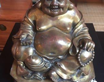 Laughing Brass Buddha Statue