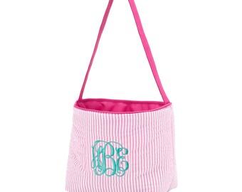 SALE, Easter, basket, seersucker, monogram, pink, blue, boy, girl, bucket, personalized, eggs, container, hunt