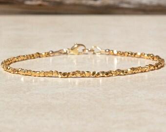 Karen Hill Tribe Gold Vermeil Bracelet, Beaded Stacking Bracelet, Gift for Her, Delicate Dainty Bracelet, Simple Bracelet, Gift for Her