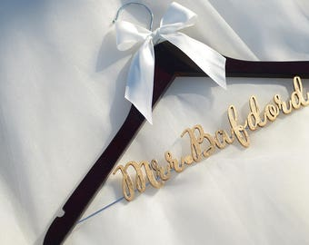 Personalized Bridal Hanger Gold Letters, Bridal Hanger, Bridesmaid Dress Hanger, Wedding Shower Gift, Gift for Bride, photo prop vet0004