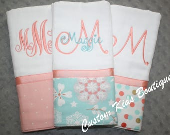 Coral and Aqua Floral Baby Girl Burp Cloth Gift Set- Set of 3 Custom Monogrammed Burp Cloths