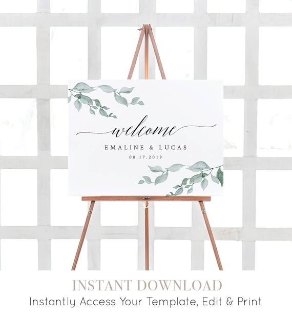 Greenery Wedding Welcome Sign, Printable Poster, Self-Editing Template, INSTANT DOWNLOAD, Watercolor Laurel Leaves, 18x24 & 24x36 #019-111LS
