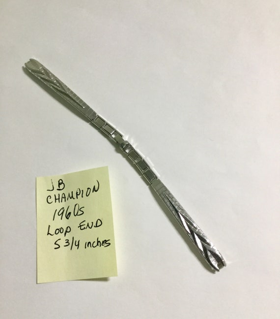 1960s Ladys JB Champion White Gold Filled Loop End Band 5 3/4 inches