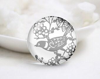 Handmade Round Bird Photo Glass Cabochons (P3485)
