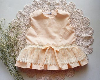 Peach Cotton Peplum Toddler Shirt Handmade by Papoose Clothing