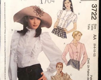 McCALL'S 3722 Fitted Ruffle Blouse Pattern, High Neck, Collar, Long/Short Sleeves, Cuffs/Ruffles Size 6-12 Uncut