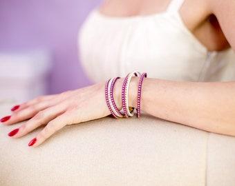Purple Bracelet for Women - Suede Delicate Bracelet - Boho Bracelet Wrap  - Best Friend Gift Ideas Bracelets