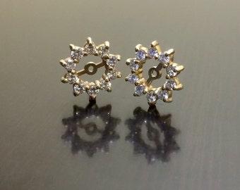 Diamond Earring Jackets - Diamond Jackets - Diamond Earrings - Diamond Stud Earrings - Diamond Studs - 14K Gold Studs - 14K Gold Earrings