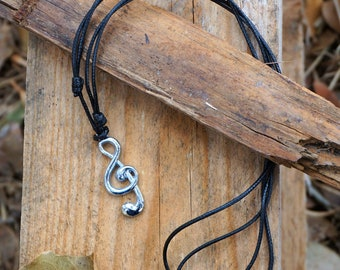 Music Note Treble Clef Necklace | by BARBARI Jewelries | Handmade Gift for Him Her! High Quality Necklace with Metal G Clef Pendant