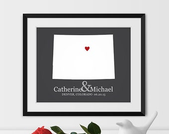 Colorado Map Art, Denver Colorado Wedding Gift, Colorado State Map, State Art, Colorado Gift - Any STATE