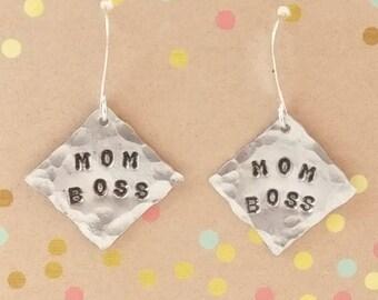 Mom Boss, Stamped Earrings