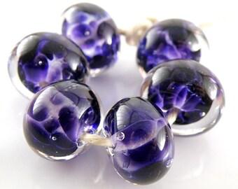Hyacinth Violet Encased SRA Lampwork Handmade Artisan Glass Donut/Round Beads Made to Order Set of 6 10x15mm