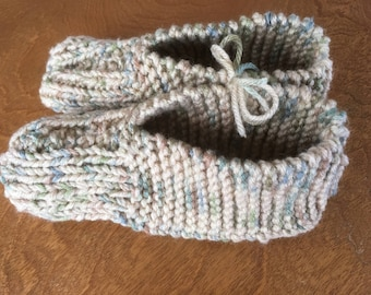 Hand Knitted Slippers - Variegated browns and greens