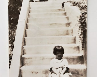 Original Vintage Photograph | The Girl at the Bottom of the Stairs