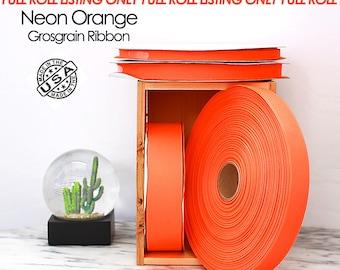 Neon Orange Grosgrain Ribbon Full Roll Only - 4 widths - Berwick Offray Neon Orange grosgrain ribbon - USA made neon orange ribbon -  (2511)