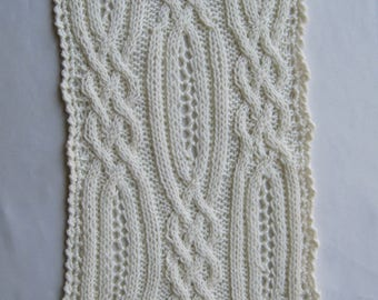 Knit Scarf Pattern:  Blantrey Cable Lace Scarf Knitting Pattern