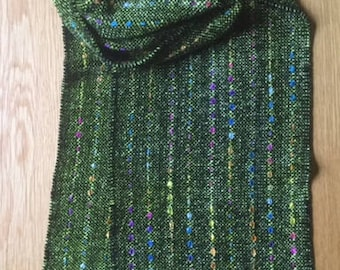 Handwoven Lime Green & Black Chenille Scarf with Colorful Ribbons