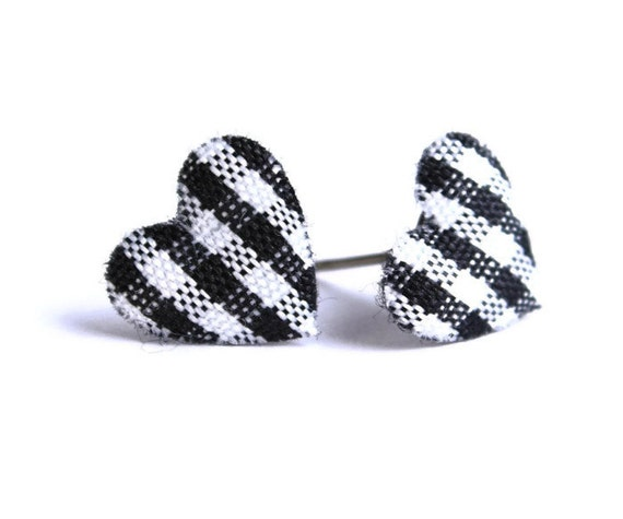 Sale Clearance 20% OFF - Black white plaid heart fabric applique hypoallergenic stud earrings READY to ship (334)