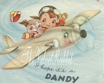 Digital Download InstantAirplane.Boy Birthday.Vtg. style.. Sweetest.Frame.Pillow.Cards.Greeting Cards.Sachets.scrap booking.decoupage